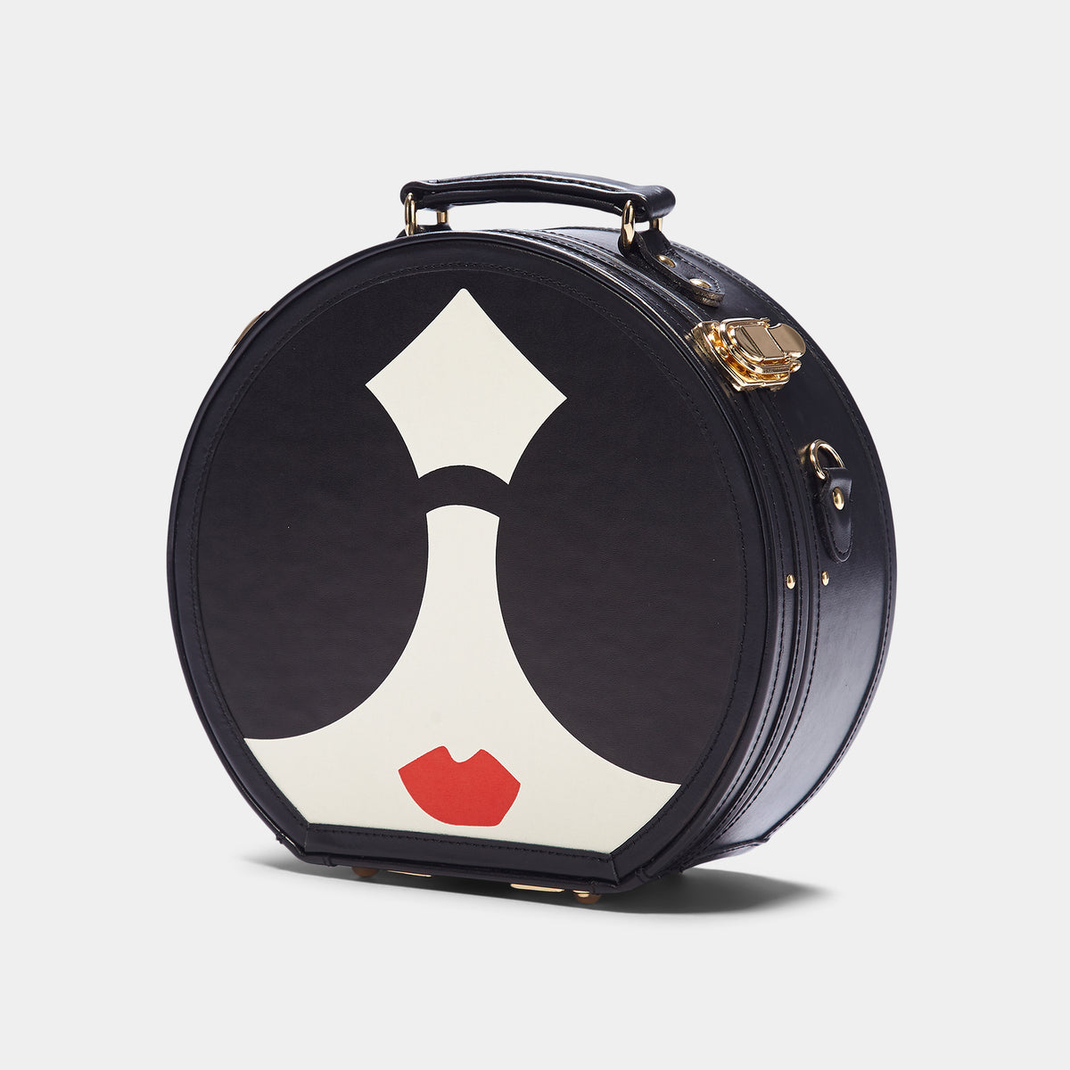 The alice + olivia X SteamLine in Black - Hat Box Luggage - Exterior Front