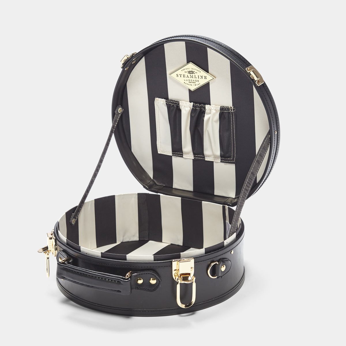 The alice + olivia X SteamLine in Black - Hat Box Luggage - Interior Front
