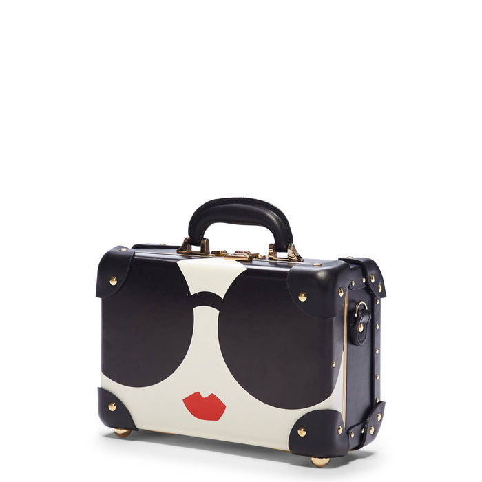 The alice + olivia X SteamLine Vanity in Black - Vintage Style Leather Case - Exterior Front