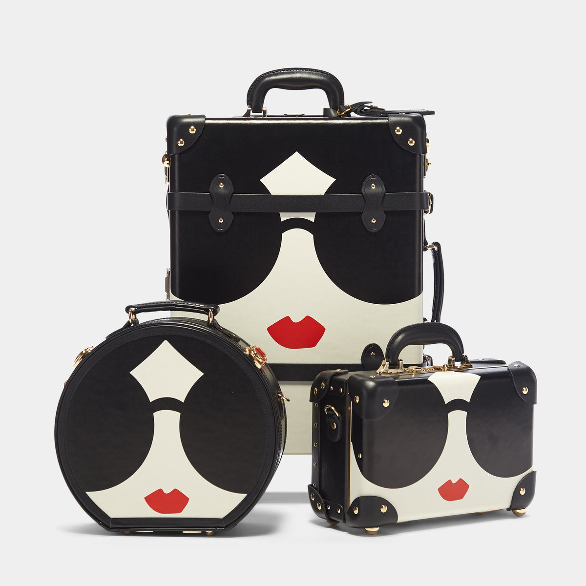 The alice + olivia X SteamLine in Black - Hat Box Luggage - Hat Box with matching cases