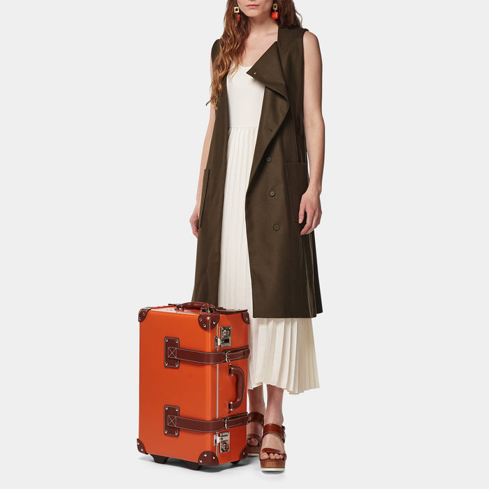 The Anthropologist Carryon in Orange - Vintage Style Leather Case - Exterior Front with Model