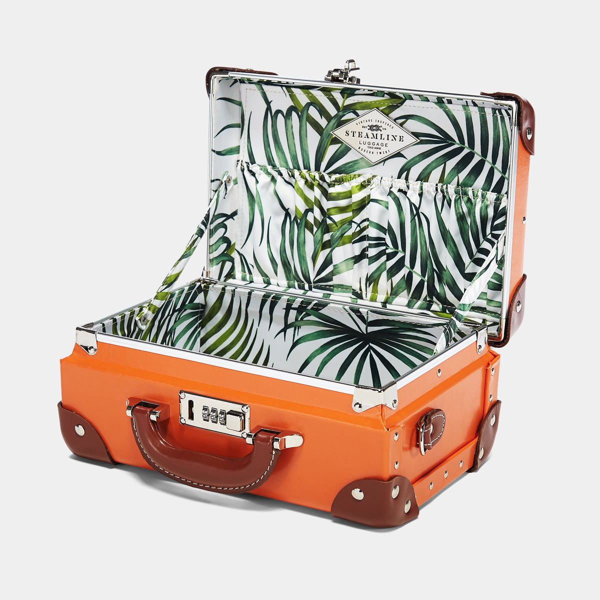 The Anthropologist Vanity in Orange - Vintage Style Leather Case - Interior Front