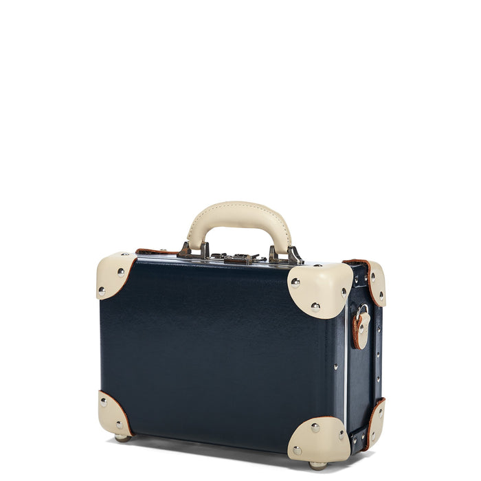 The Anthropologist Vanity in Navy - Vintage Style Leather Case - Exterior Front