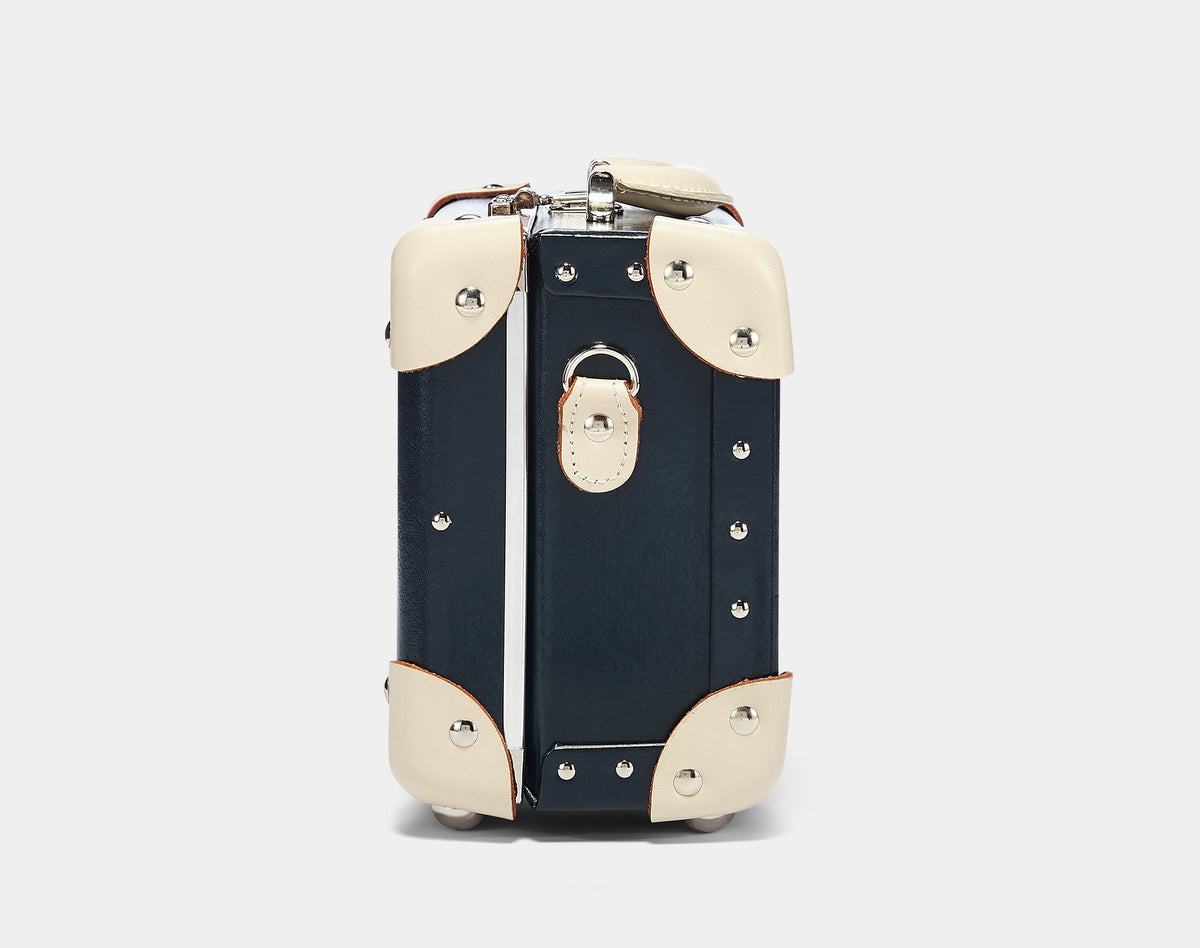 The Anthropologist Vanity in Navy - Vintage Style Leather Case - Exterior Side