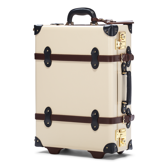 The Architect Carryon in Cream - Vintage Style Leather Case - Exterior Front