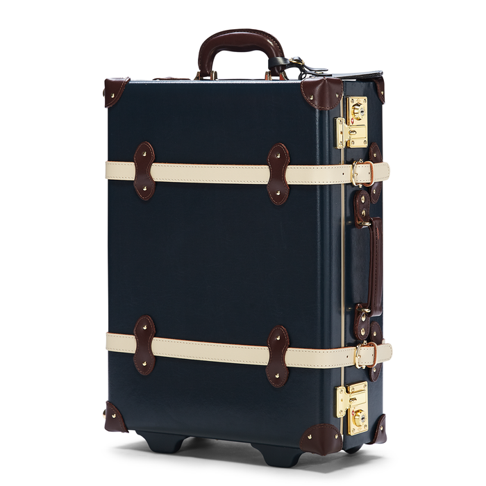 The Architect Carryon in Navy -Vintage Style Leather Case - Exterior Front