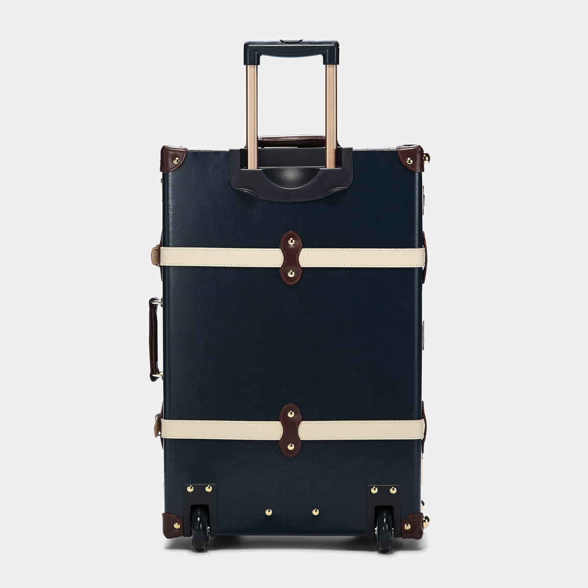 The Architect Stowaway in Navy -Vintage Style Leather Case - Exterior Back with Extendable Handle