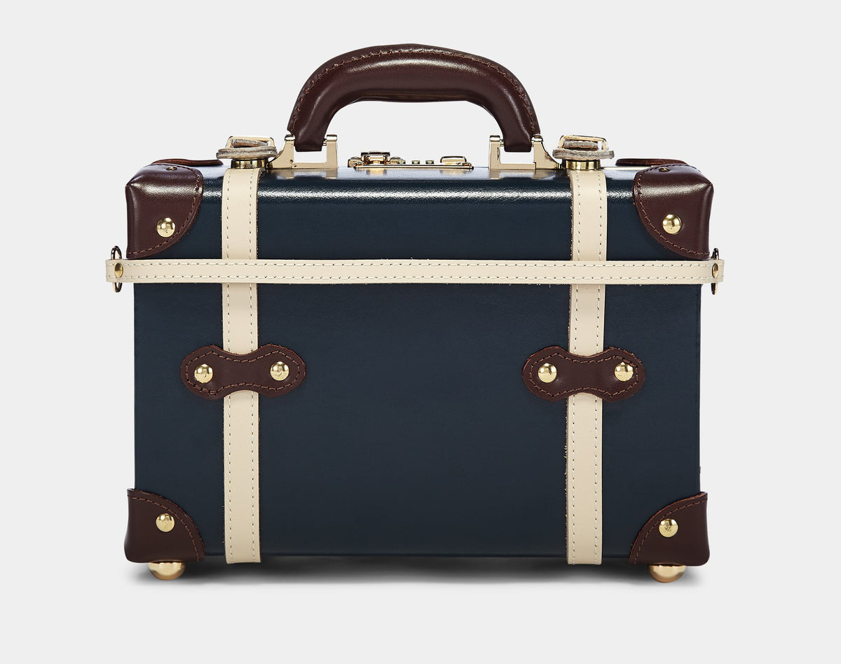 The Architect Vanity in Navy -Vintage Style Leather Case - Exterior Back with Shoulder Strap