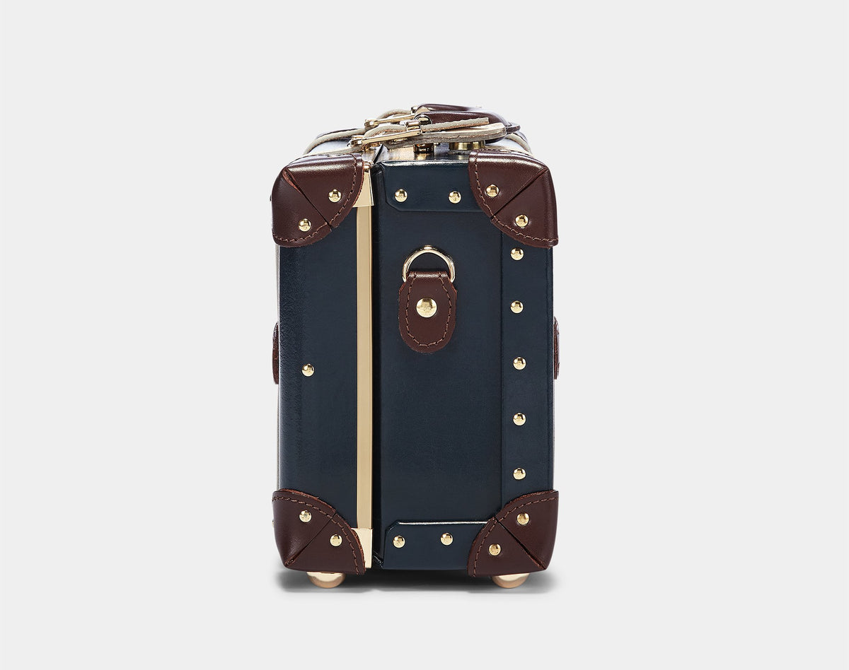 The Architect Vanity in Navy -Vintage Style Leather Case - Exterior Side