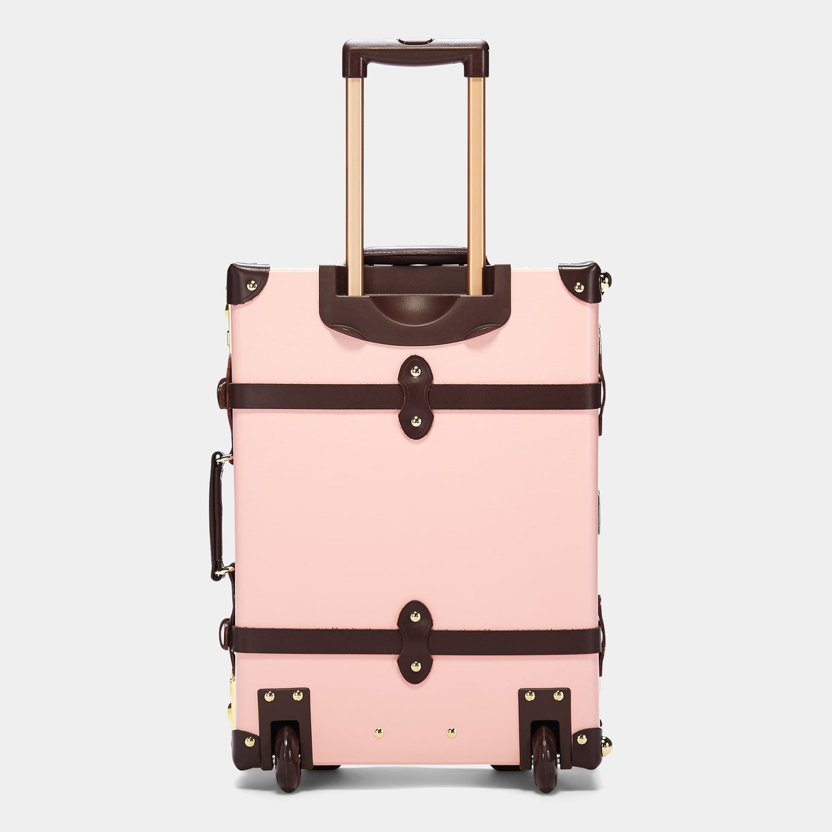 The Artiste Carryon in Pink - Old Fashioned Carry On Case - Exterior Back with Extendable Handle