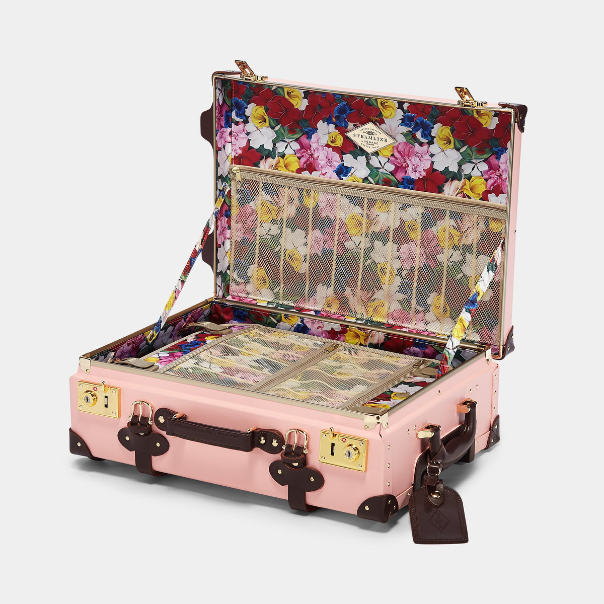 The Artiste Carryon in Pink - Old Fashioned Carry On Case - Interior Front
