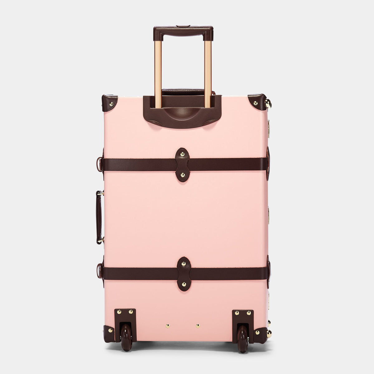 The Artiste Stowaway in Pink - Old Fashioned Suitcase - Exterior Back with Extendable Handle