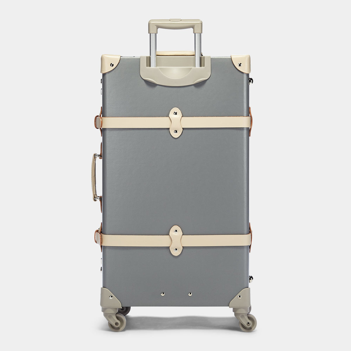 The Botanist Spinner in Grey - Vintage-Inspired Suitcase - Exterior back with Extendable Handle