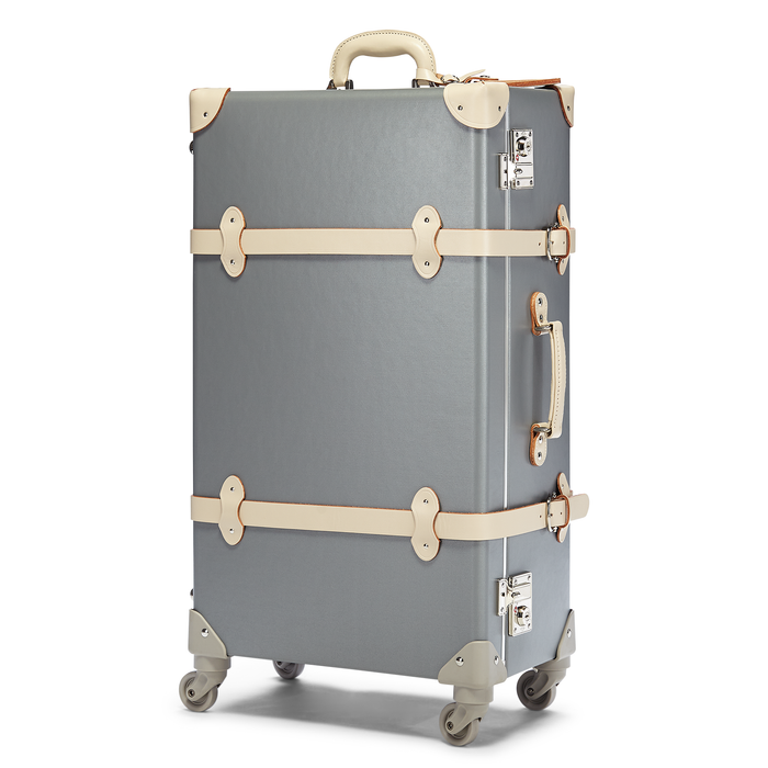 The Botanist Spinner in Grey - Vintage-Inspired Suitcase - Exterior Front