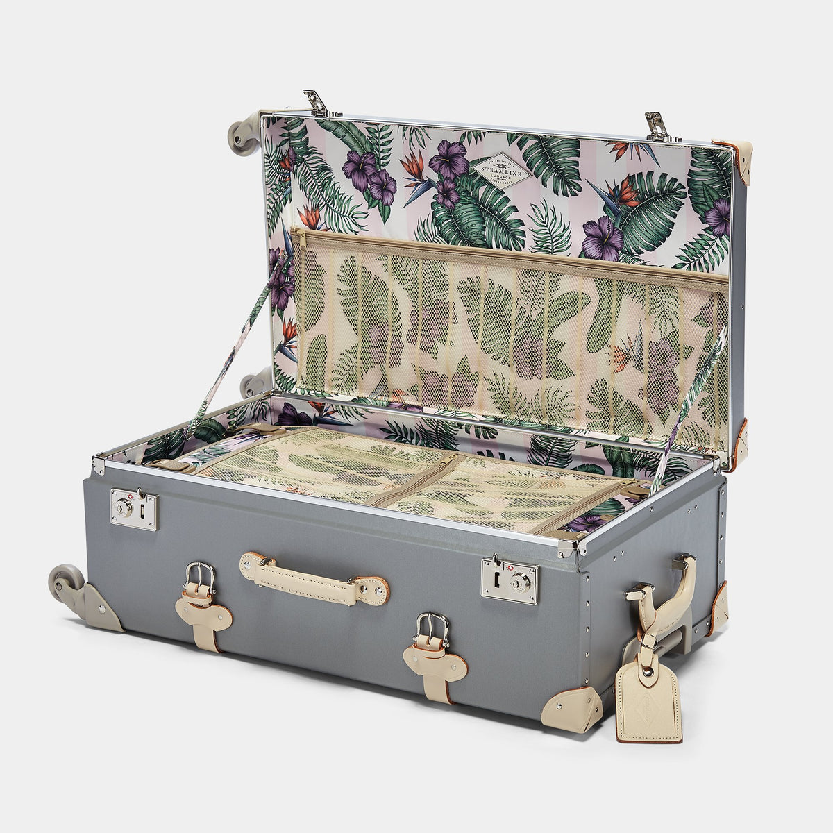 The Botanist Spinner in Grey - Vintage-Inspired Suitcase - Interior Front