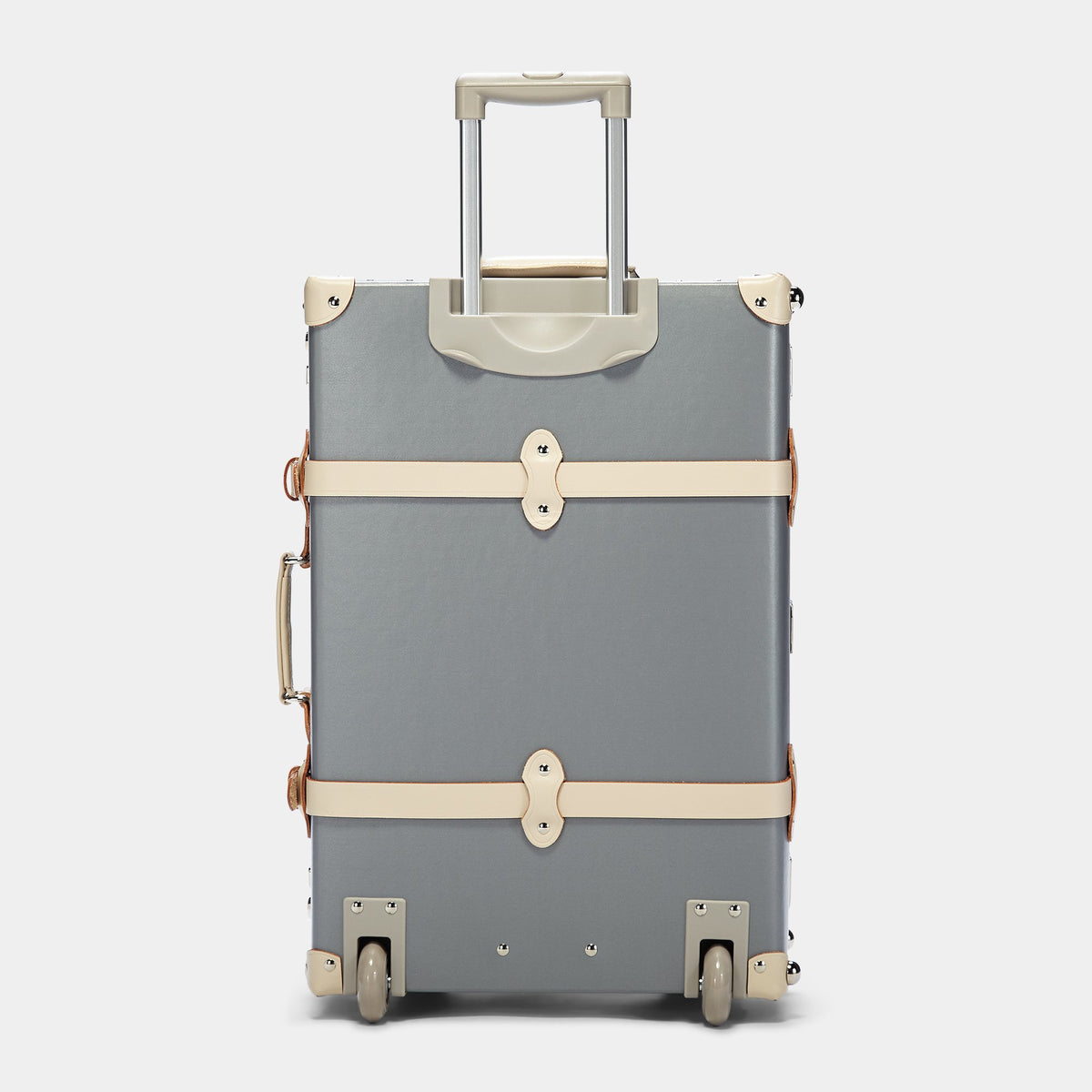 The Botanist Stowaway in Grey - Vintage-Inspired Luggage - Exterior Back with Extendable Handle