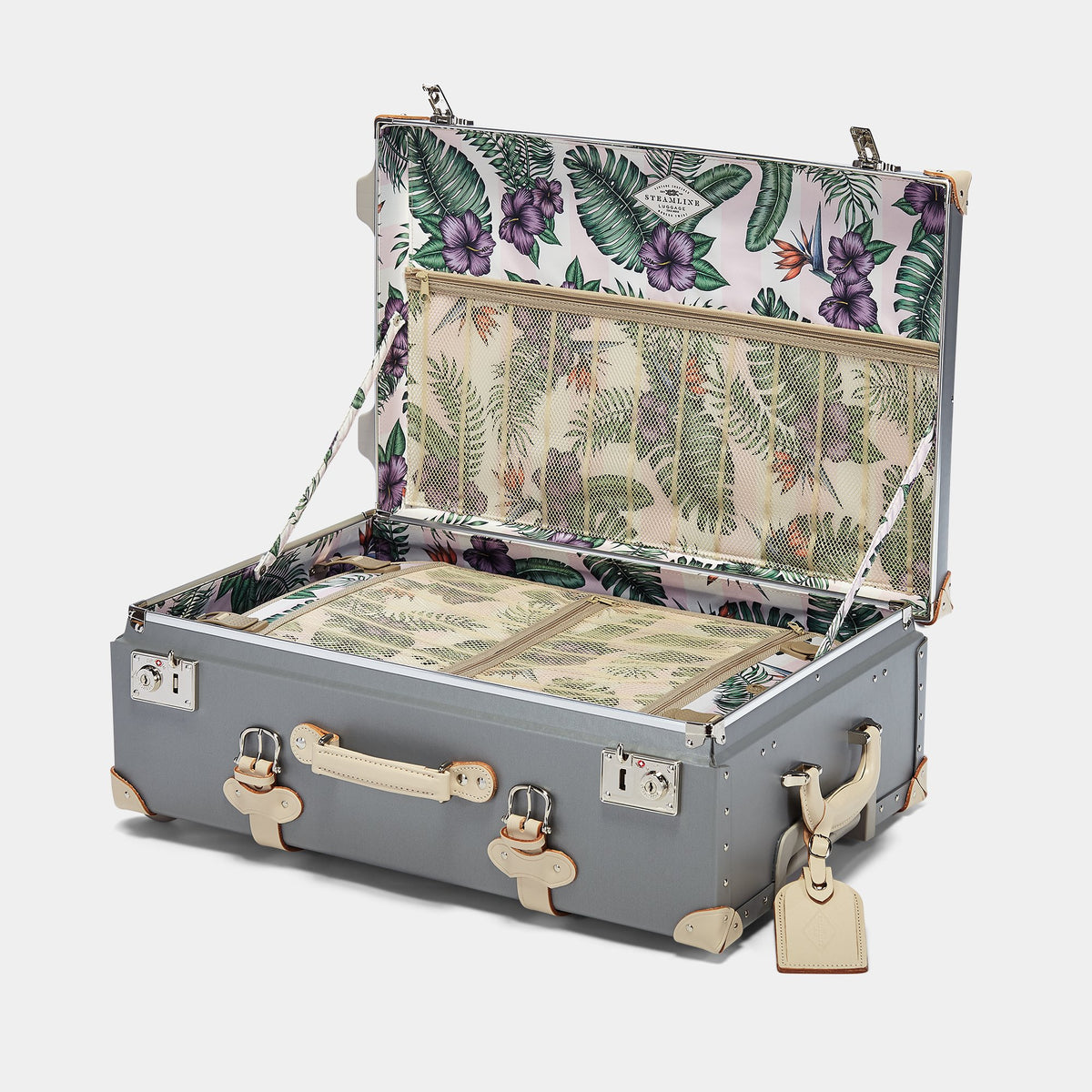 The Botanist Stowaway in Grey - Vintage-Inspired Luggage - Interior Front