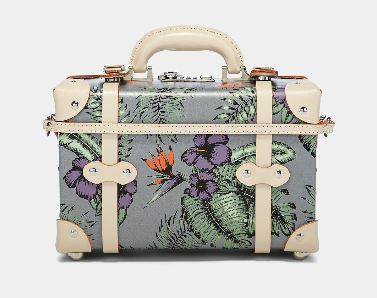 The Botanist Vanity in Grey - Vintage Inspired Vanity Case - Exterior Back with Shoulder Strap