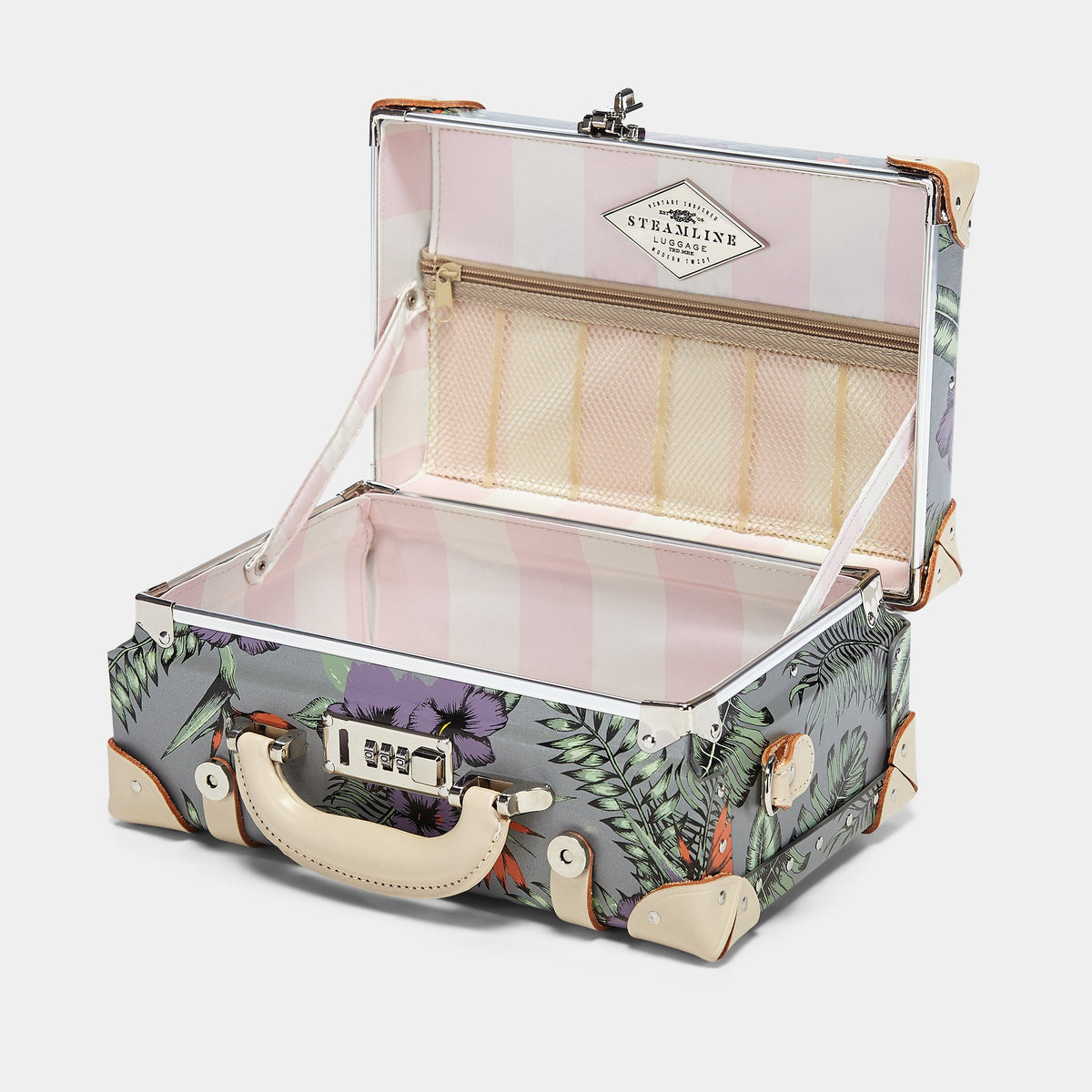 The Botanist Vanity in Grey - Vintage Inspired Vanity Case - Interior Front