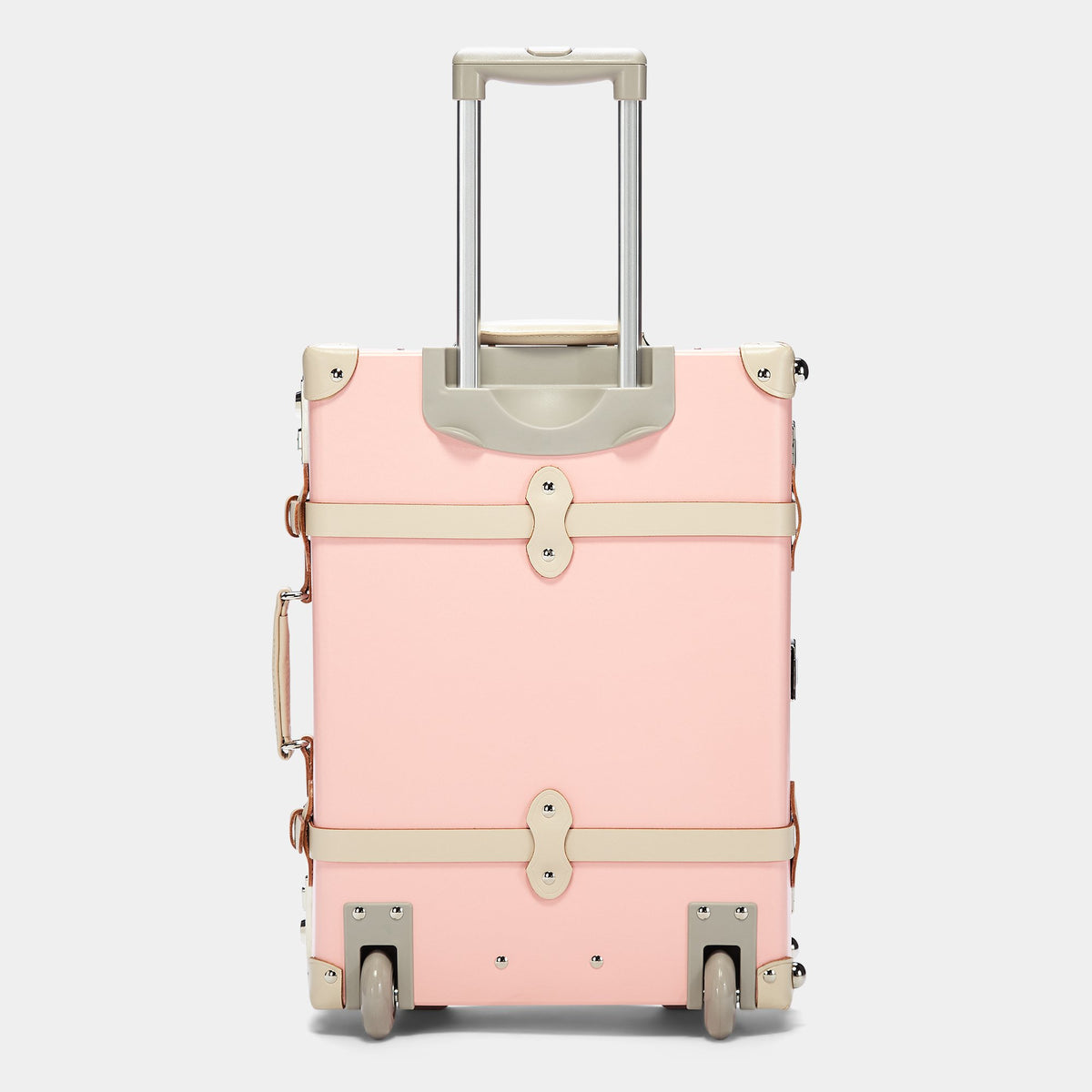 The Botanist Carryon in Pink - Vintage-Inspired Carry On Case - Exterior BAck with Extendable Handle