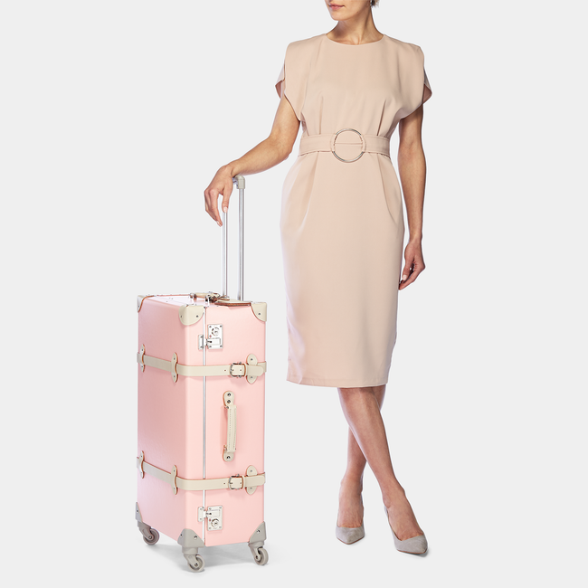 The Botanist Spinner in Pink - Vintage-Inspired Suitcase - Exterior