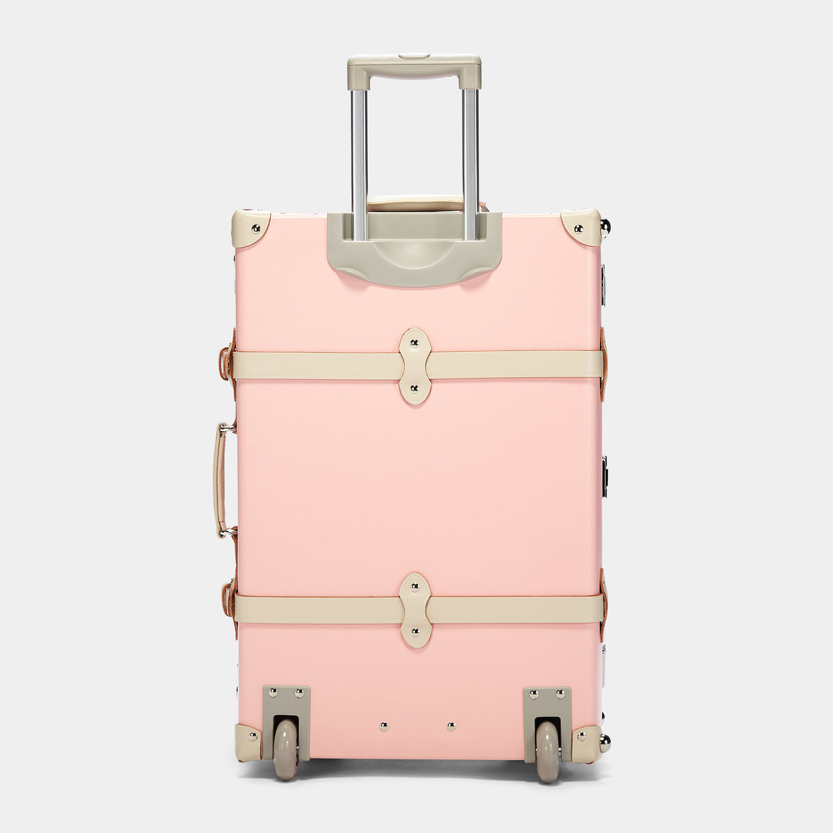The Botanist Stowaway in Pink - Vintage-Inspired Suitcase - Exterior Back with Extendable Handle
