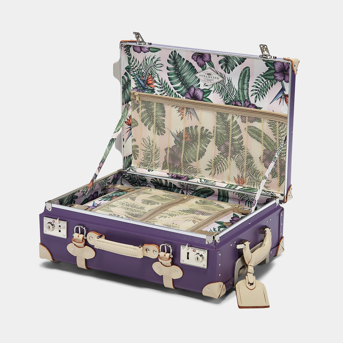 The Botanist Carryon in Purple - Vintage-Inspired Hand Luggage - Interior