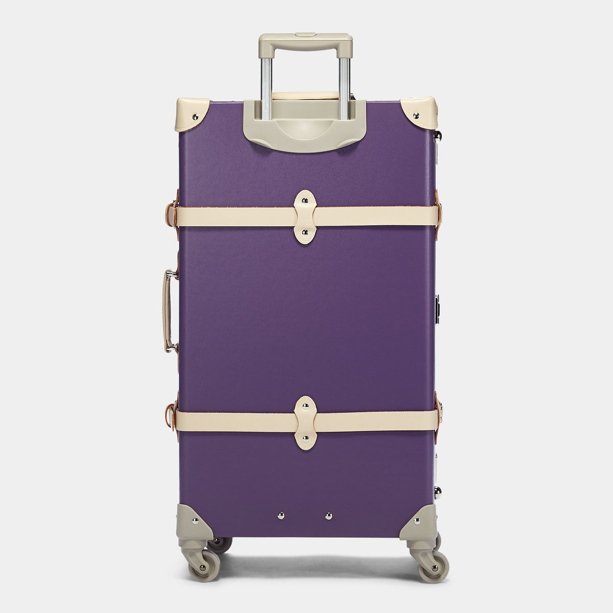 The Botanist Spinner in Purple - Vintage-Inspired Trunk Suitcase - Exterior Back with Extendable Handle