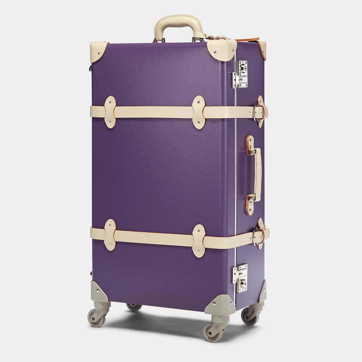 The Botanist Spinner in Purple - Vintage-Inspired Trunk Suitcase - Exterior
