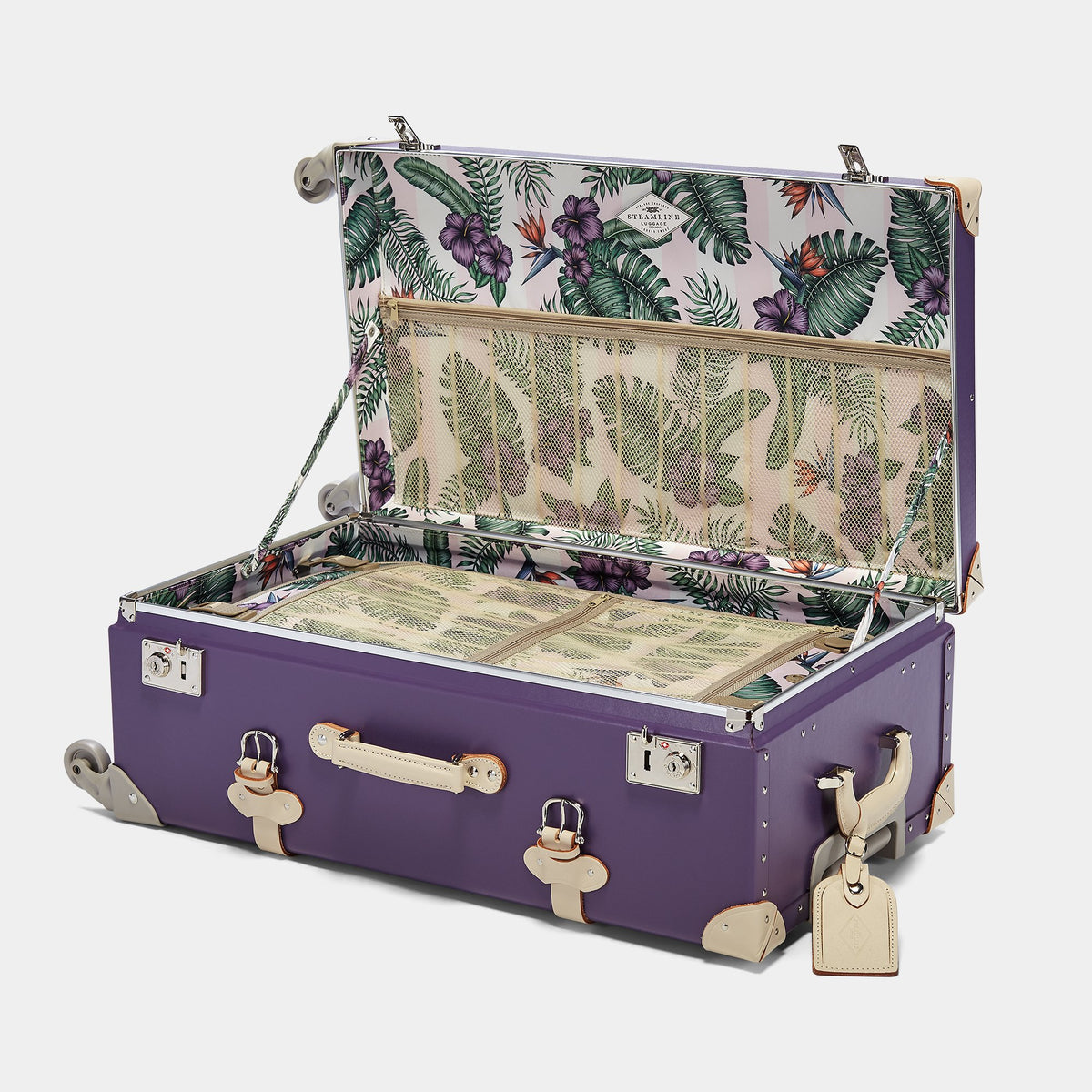 The Botanist Spinner in Purple - Vintage-Inspired Trunk Suitcase - Interior