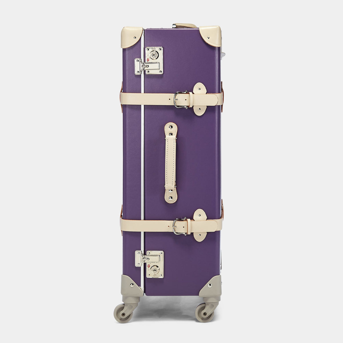 The Botanist Spinner in Purple - Vintage-Inspired Trunk Suitcase - Exterior Side