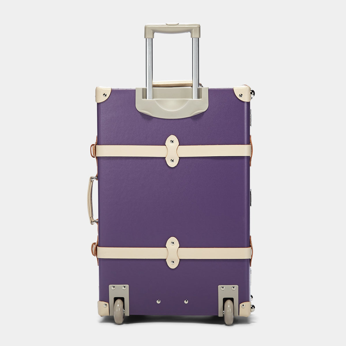 The Botanist Stowaway in Purple - Vintage-Inspired Suitcase - Exterior Back with Extendable Handle