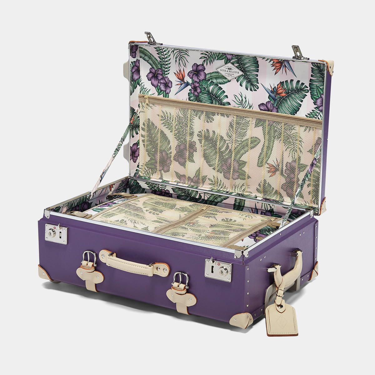 The Botanist Stowaway in Purple - Vintage-Inspired Suitcase - Interior