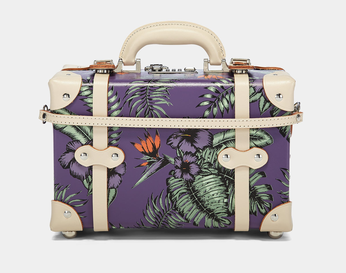 The Botanist Vanity in Purple - Vintage Inspired Vanity Case - Exterior Back with Shoulder Strap