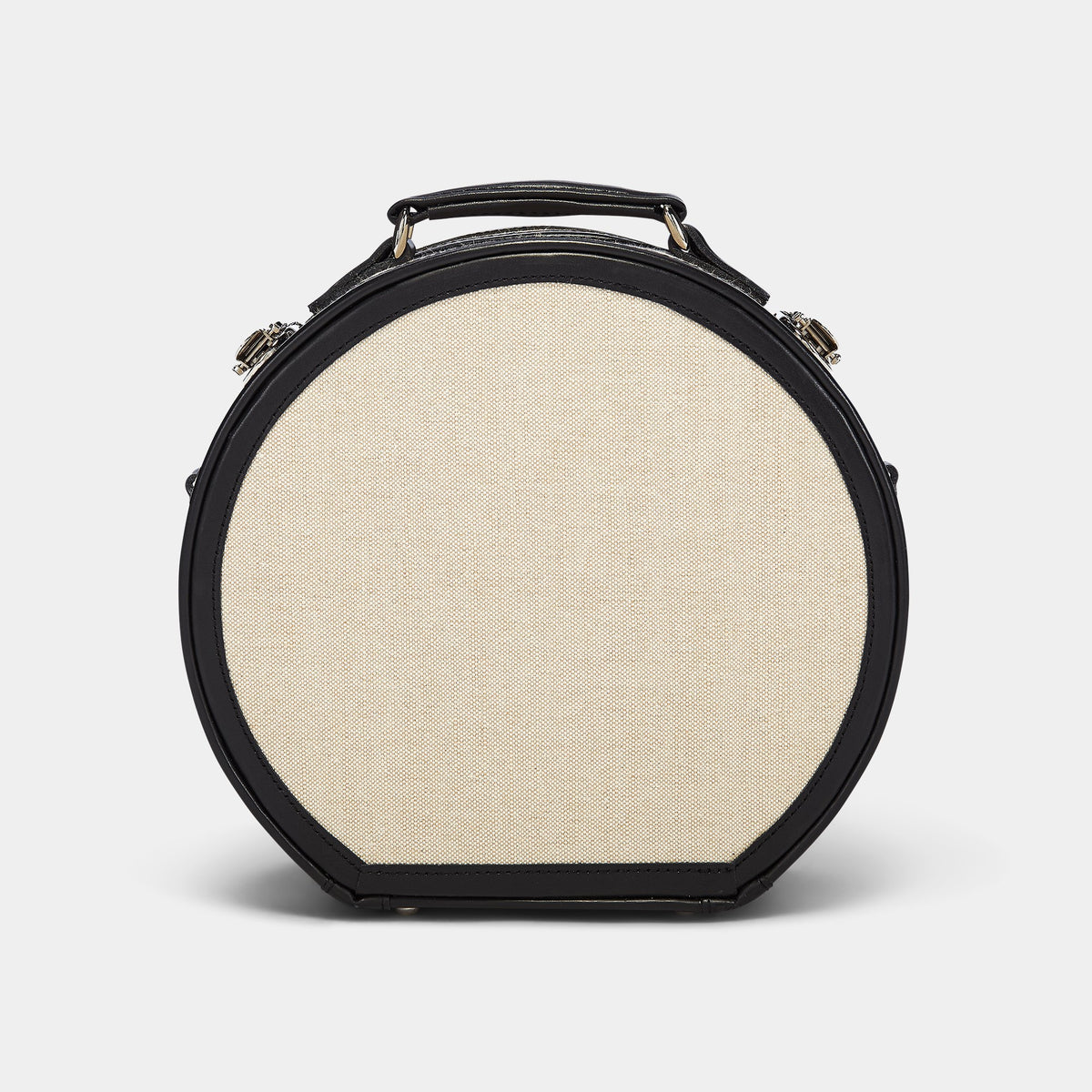 The Editor Hatbox Small in Black - Hat Box Luggage - Exterior Back with Shoulder Strap