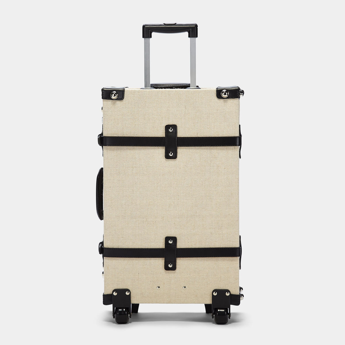 The Editor Stowaway in Black - Vintage Style Linen and Leather Case - Exterior Back with Extendable Handle