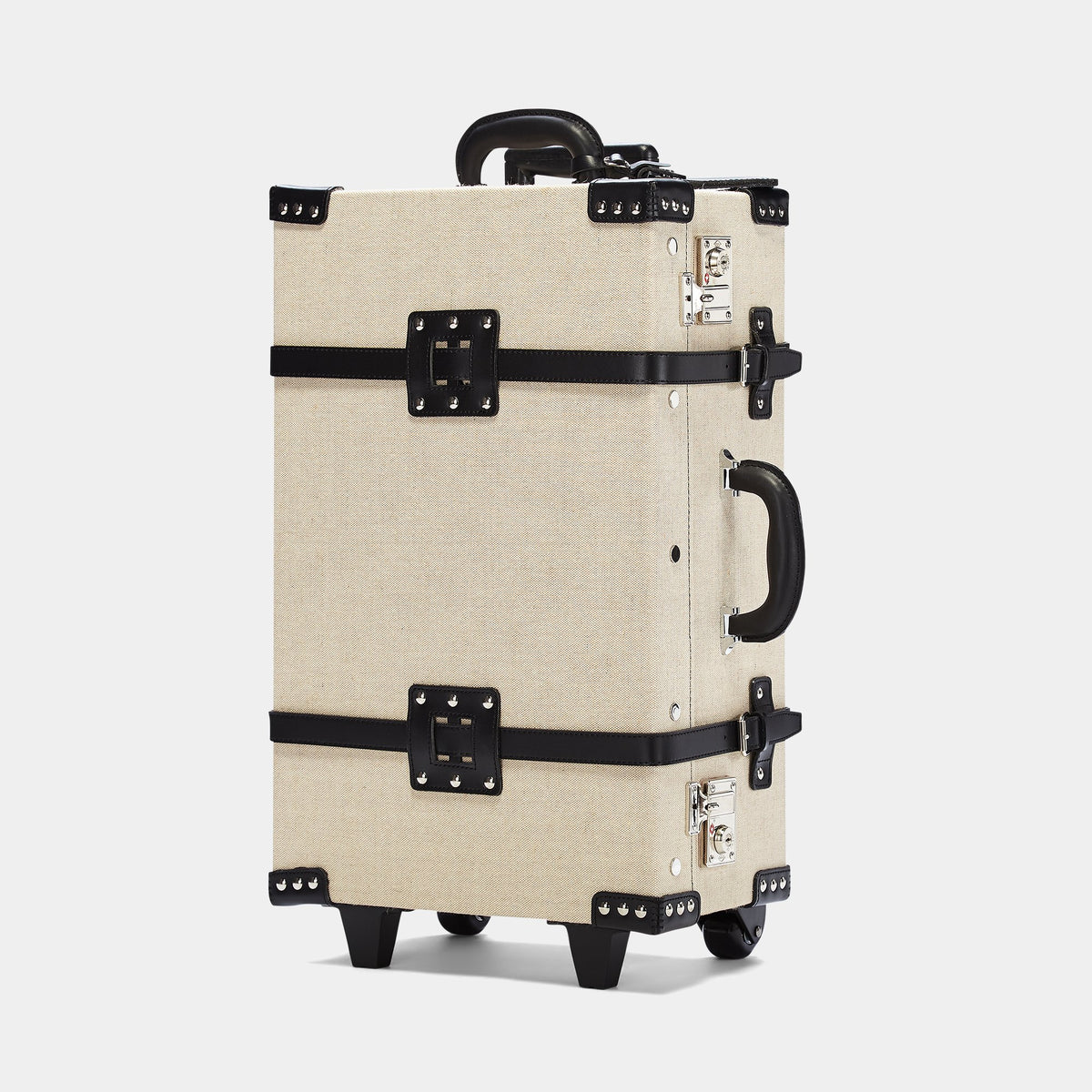 The Editor Stowaway in Black - Vintage Style Linen and Leather Case - Exterior Front
