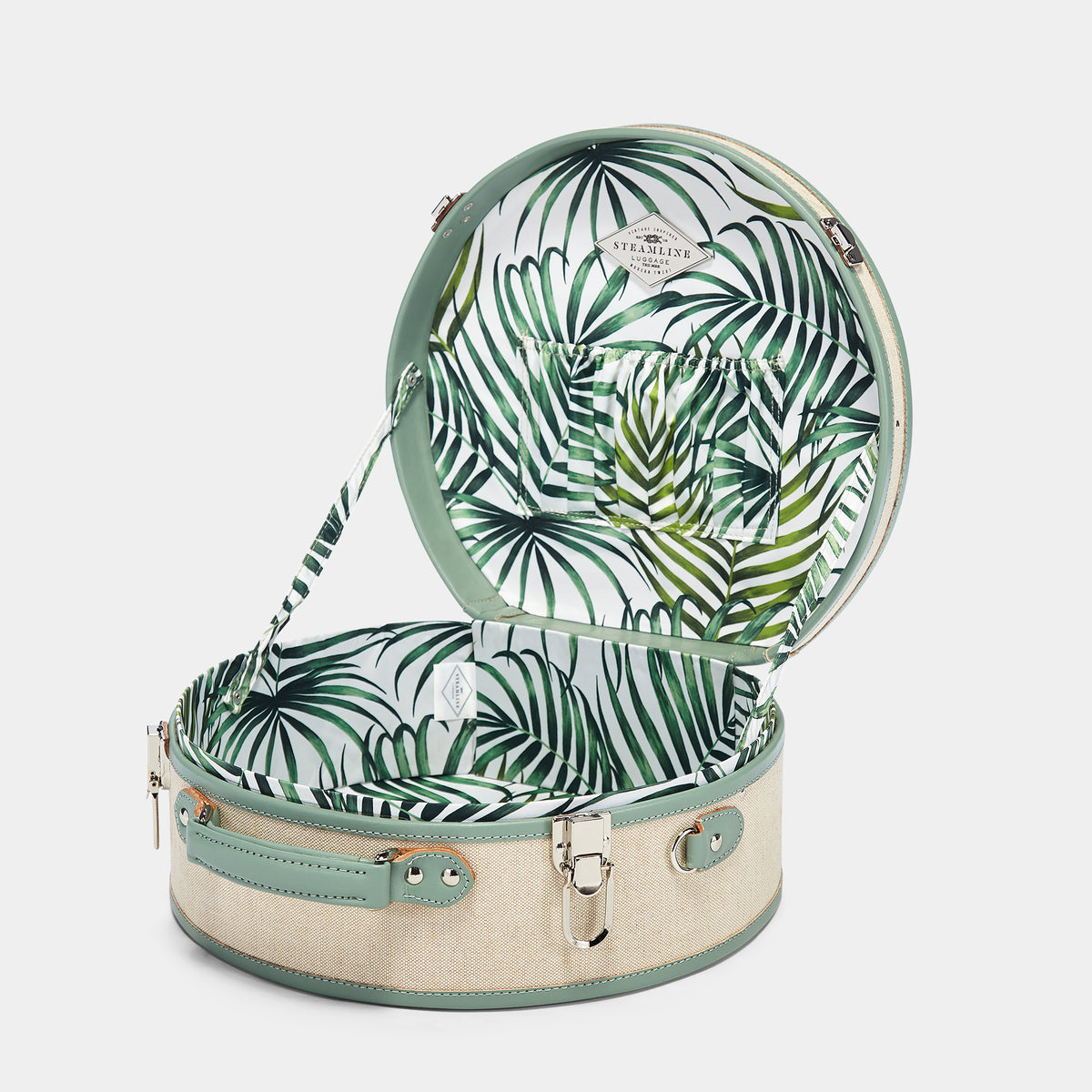 The Editor Hatbox Large in Seagreen - Hat Box Luggage - Interior Front
