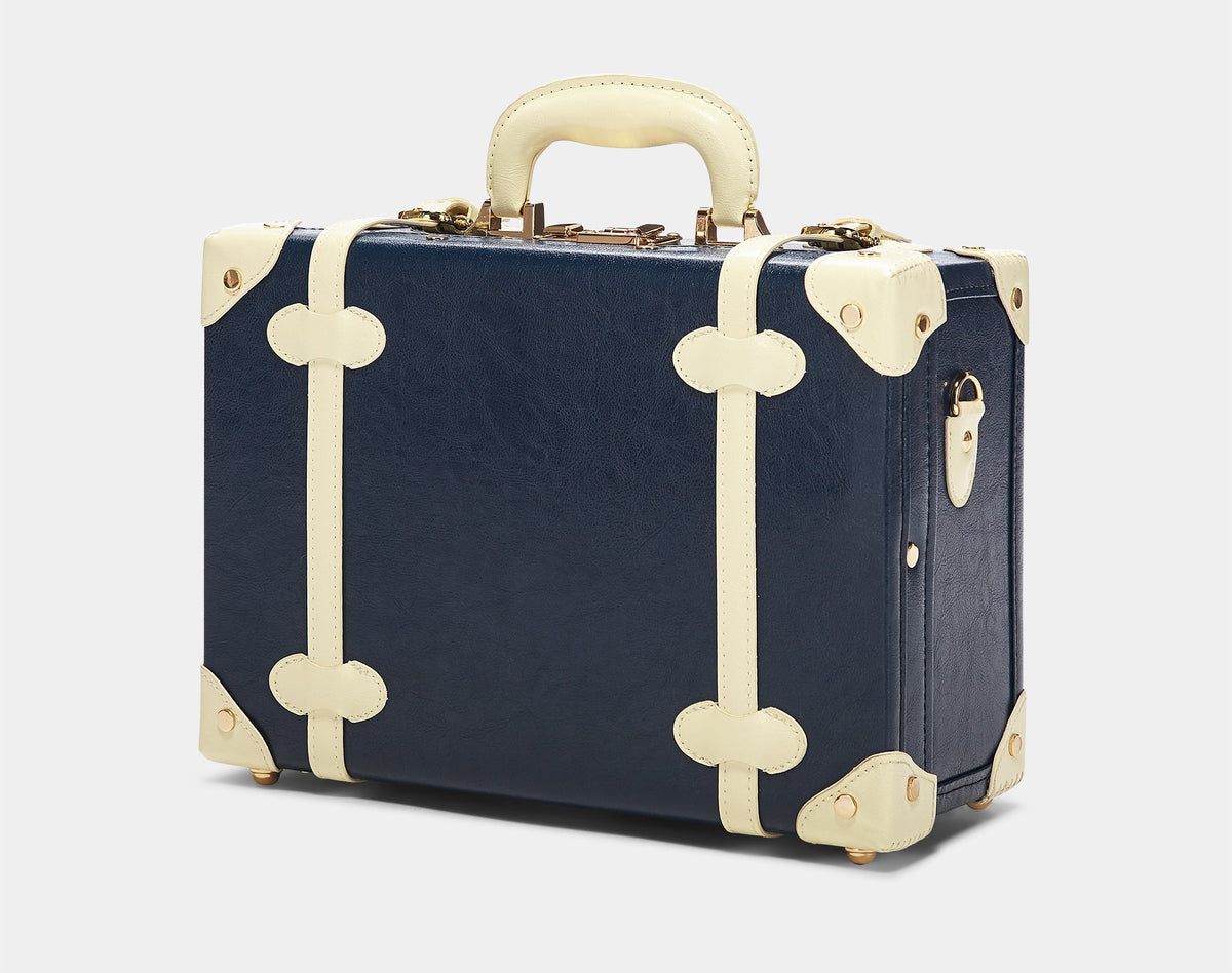 The Entrepreneur Briefcase in Navy - Vintage-Inspired Luggage - Exterior Front