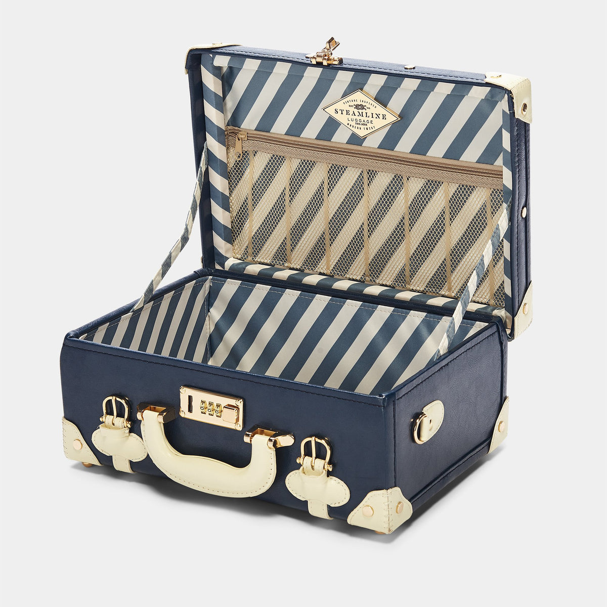 The Entrepreneur Briefcase in Navy - Vintage-Inspired Luggage - Interior Front