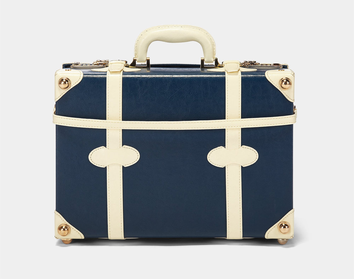 The Entrepreneur Overnighter in Navy - Vintage-Inspired Luggage - Exterior Back with Shoulder Strap