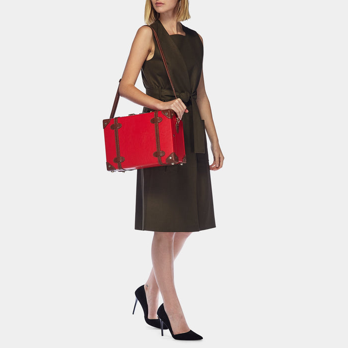 The Entrepreneur Briefcase in Red - Vintage-Inspired Vegan Luggage - Exterior Front with Model