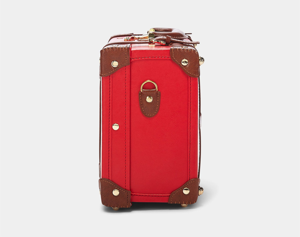 The Entrepreneur Briefcase in Red - Vintage-Inspired Vegan Luggage - Exterior Side