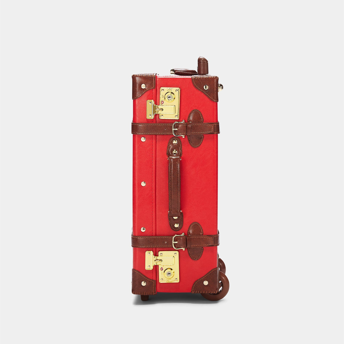 The Entrepreneur Carryon in Red - Vintage-Inspired Vegan Luggage - Exterior Side