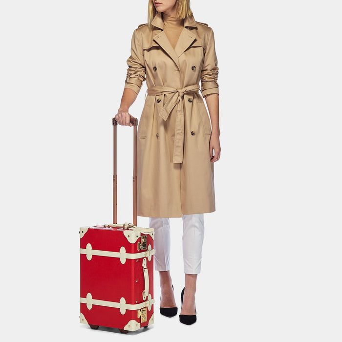 The Entrepreneur Carryon in Red Lip - Vintage-Inspired Vegan Luggage - Exterior Front with Model