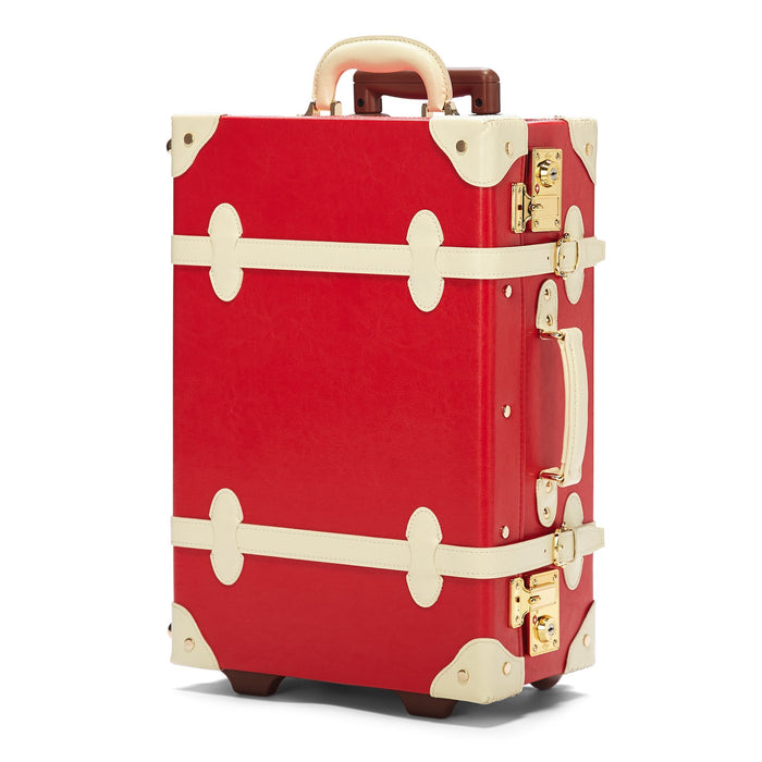 The Entrepreneur Carryon in Red Lip - Vintage-Inspired Vegan Luggage - Exterior Front