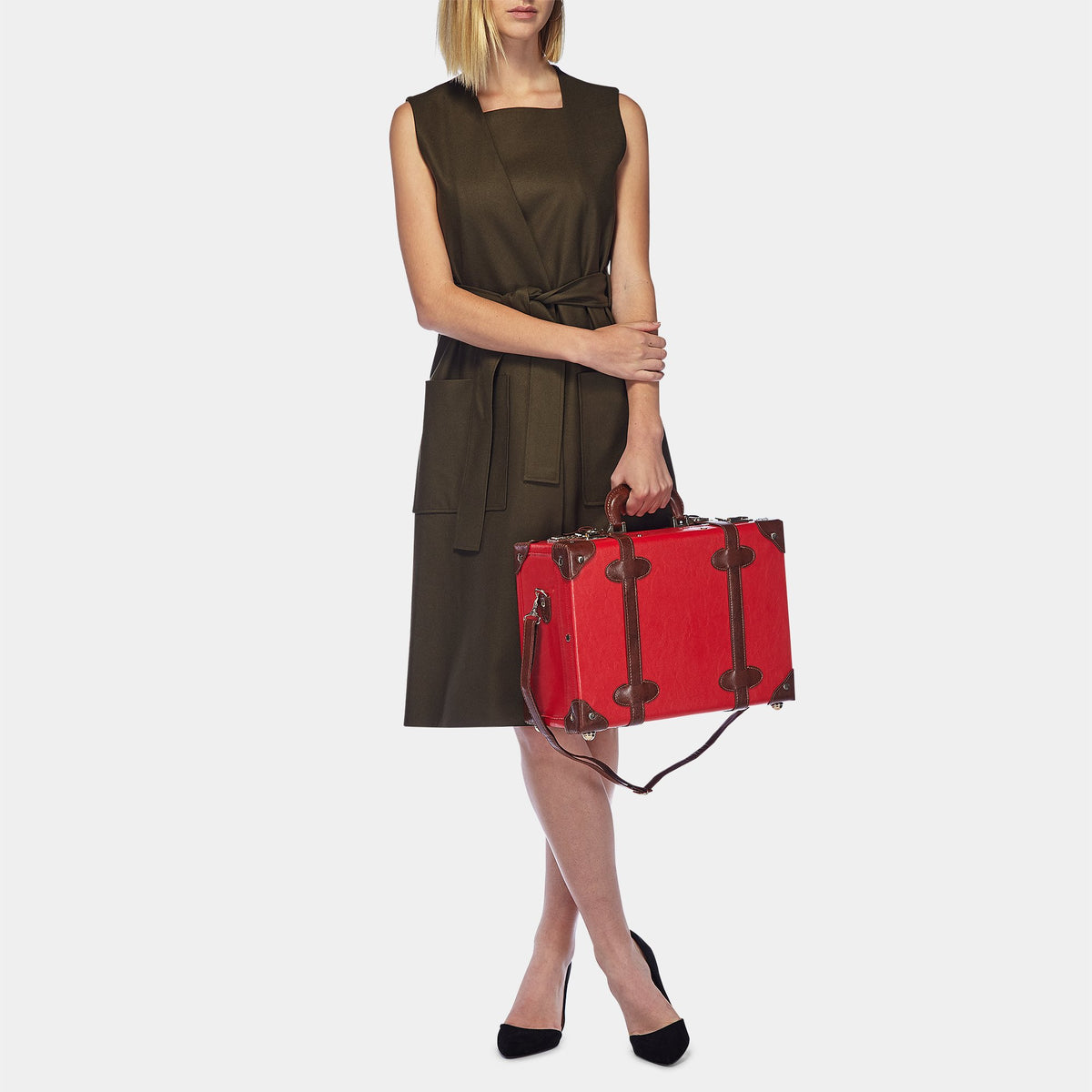 The Entrepreneur Overnighter in Red - Vintage-Inspired Vegan Luggage - Exterior Front with Model