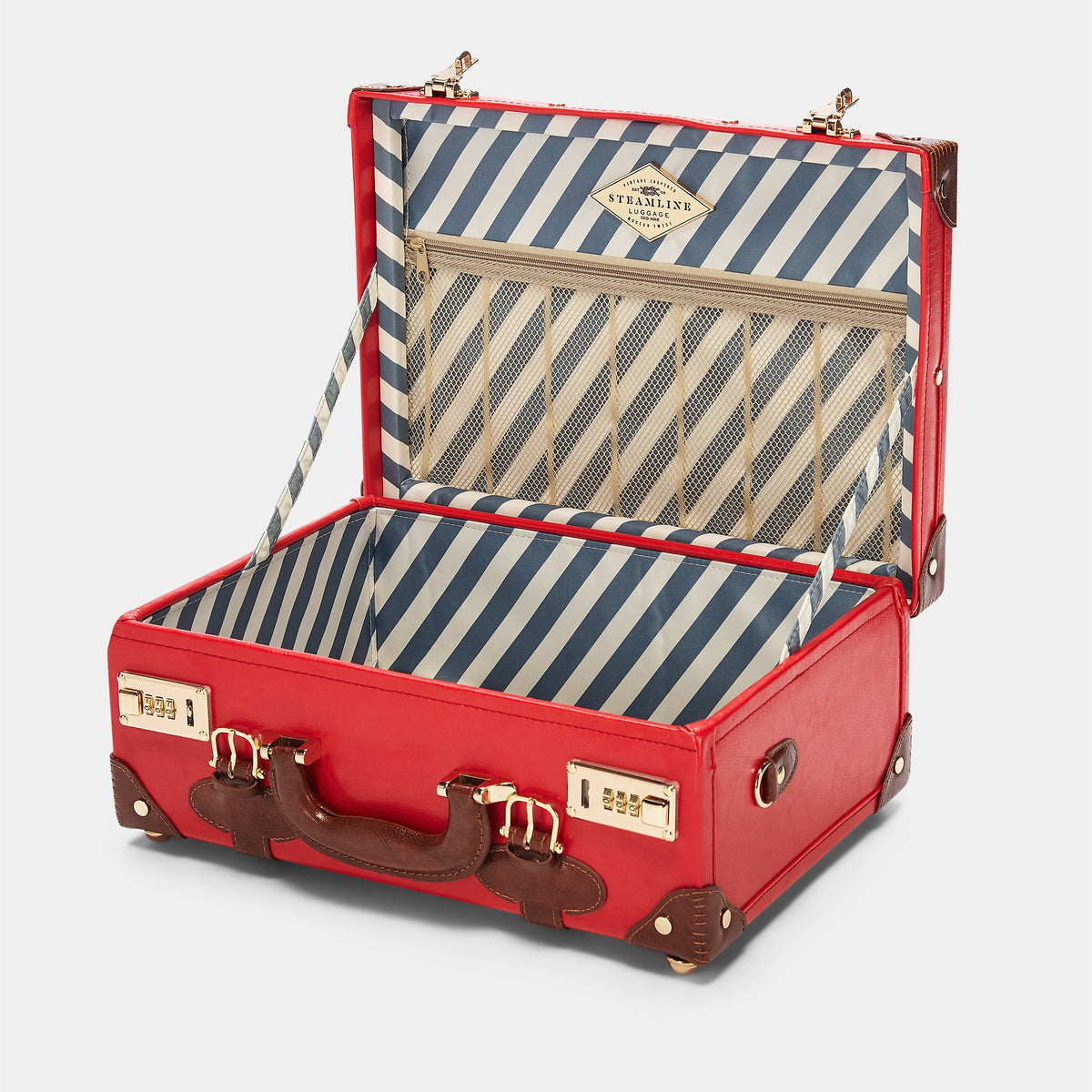 The Entrepreneur Overnighter in Red - Vintage-Inspired Vegan Luggage - Interior Front