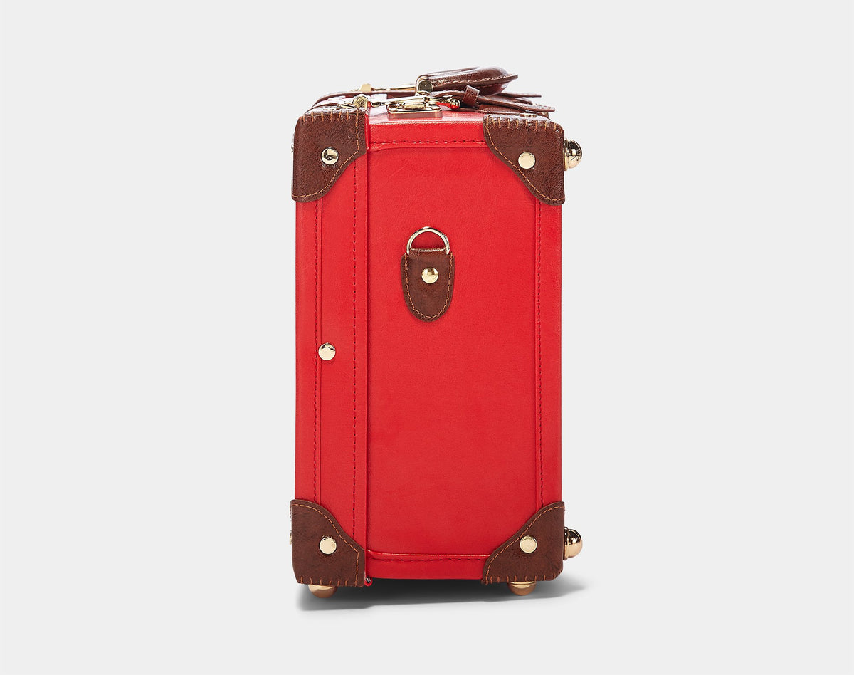 The Entrepreneur Overnighter in Red - Vintage-Inspired Vegan Luggage - Exterior Side