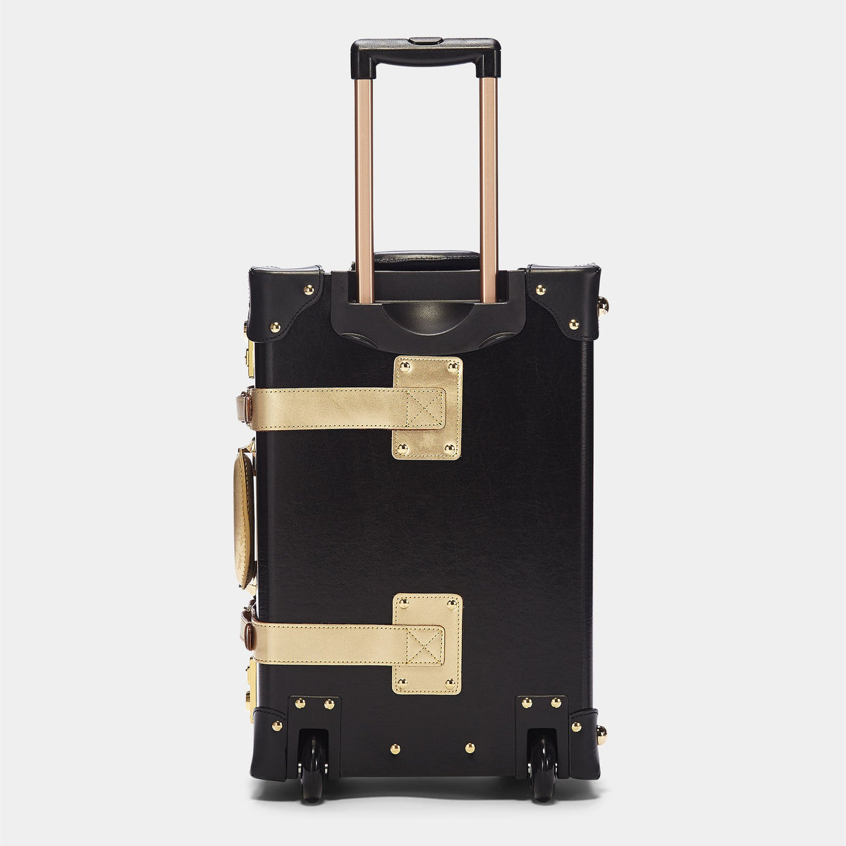 The Soprano Carryon in Black - Vintage Style Leather Case - Exterior Back with Extendable Handles
